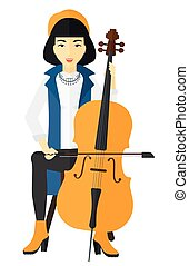 Woman playing cello - An asian woman playing cello vector...