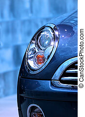car head lamp - Close up shot of car head lamp in blue color...