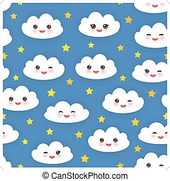 Kawaii funny white clouds set, muzzle with pink cheeks and winking eyes. Seamless pattern  on blue background. Vector