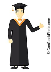 Graduate showing thumb up sign - Graduate in cloak and hat...