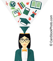 Smart cheerful woman - An asian woman with multiple icons...
