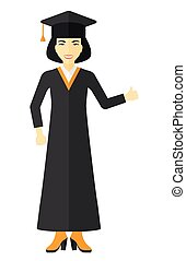 Graduate showing thumb up sign. - Graduate in cloak and hat...