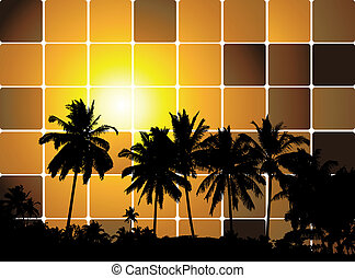 Tropical sunset, mosaic background for your design