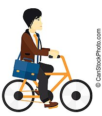 Man cycling to work.