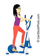 Woman making exercises - An asian woman exercising on a...