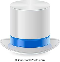 White top hat with blue ribbon