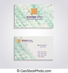 Abstract green pastel business card template