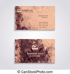 Abstract brown triangles  business card template