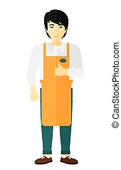 Friendly supermarket worker - An asian supermarket worker...