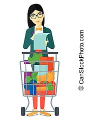 Woman with shopping list - An asian thoughtful woman...
