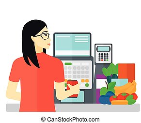 Cashier at supermarket checkout - An asian cashier at...
