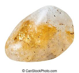 tumbled citrine quartz semiprecious gem isolated - macro...