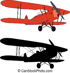 Old airplane - Vector illustration and silhouette of an old...