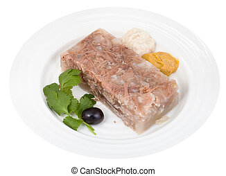 piece of beef jelly with seasonings on white plate isolated...