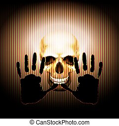 hand on the background of skulls - Vector illustration of a...
