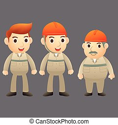Three engineer cartoon character