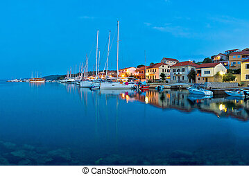 Sali harbor blue hour view, island of Dugi, Croatia