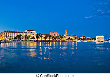 Split waterfront blue hour view, Dalmatia, Croatia