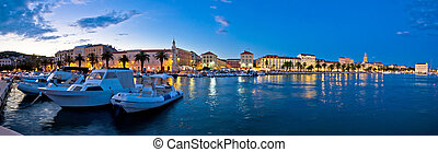 Split waterfront panorama in blue hour, Dalmatia, Croatia