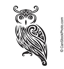 Decorative ornamental owl silhouette. vector illustration...