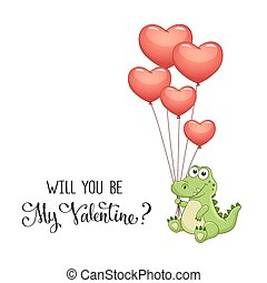 Print - Cartoon crocodile with balloons in heart shape...
