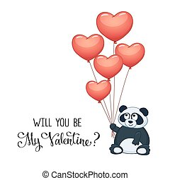 Print - Cartoon panda with balloons in heart shape...