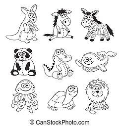 Cartoon animals set - Cute cartoon animals isolated on white...