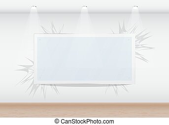 Blank frame in the gallery on the wall. Isolated. 10 EPS