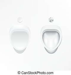 Illustration of urinal and flush valve on white and grey...