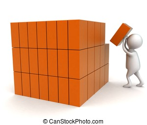 3d man arranging cargos concept in white isolated background...