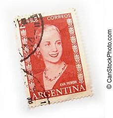 Argentina postage stamp - Argentina postage stamp on white...
