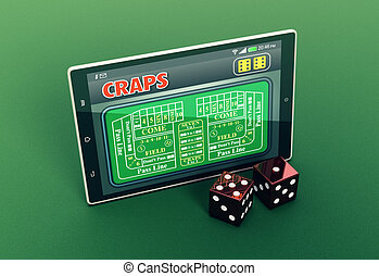 craps online - top view of a tablet pc with a craps app and...
