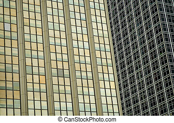 Corporate buildings - Full frame take of two mirrored...