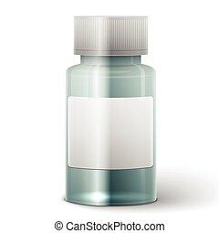 Glass medicine bottle - Medicine bottle with blank label...