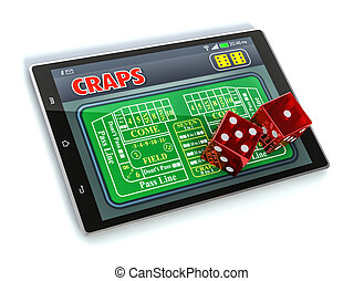 craps online - tablet pc with a craps app and a couple of...