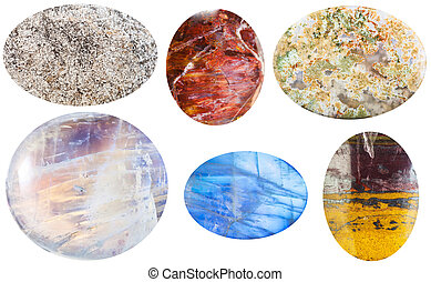 various cabochon gem stones isolated on white - macro...