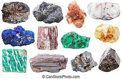 Colección, de, vario, mineral, rocas, y, piedras,