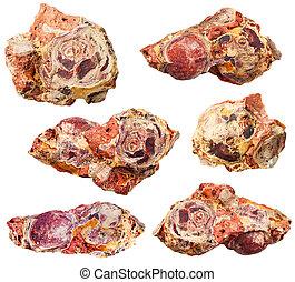 set of bauxite (aluminium ore) mineral stones