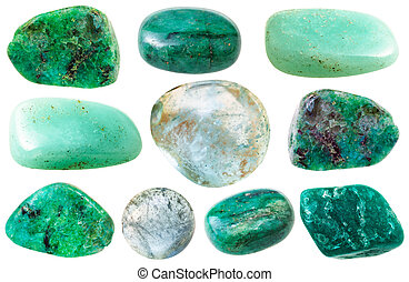 various green beryl and aquamarine gem stones - macro...