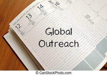 Escreva,  global,  outreach, caderno