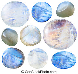 various tumbled moonstone adularia gem stones - macro...