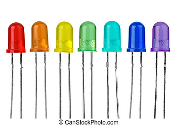 Seven LEDs of different colour isolated on the white...