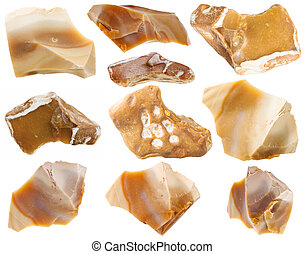 set of flint mineral stones isolated on white