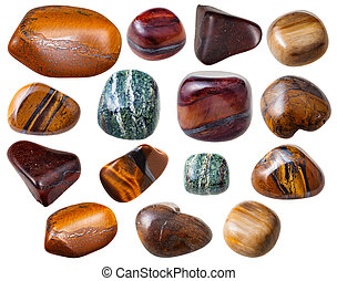 various Tigers eye Tigereye gemstones isolated - set natural...