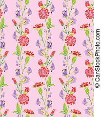 Seamless pattern with Realistic graphic flowers - clove and...