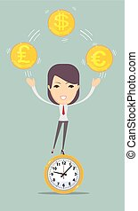 Time is money concept background - Flat time is money...