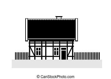 old timber-framed house as an abstract illustration