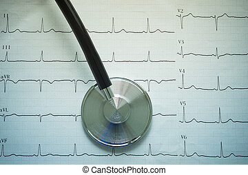 Stethoscope and cardiograph. - Stethoscope and cardiograph...