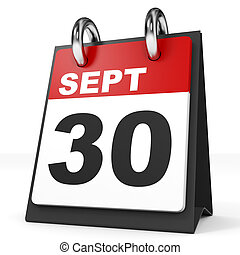 Calendar on white background. 30 September. 3D illustration.