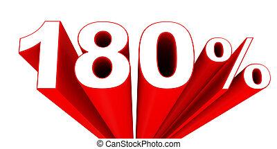 Discount 180 percent off sale. 3D illustration.